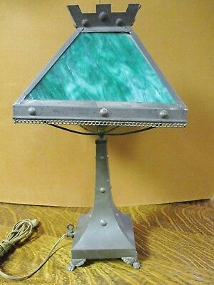 *Sale*Early 20Th Century Mission Arts & Crafts Slag Glass Paneled Gas Table Lamp