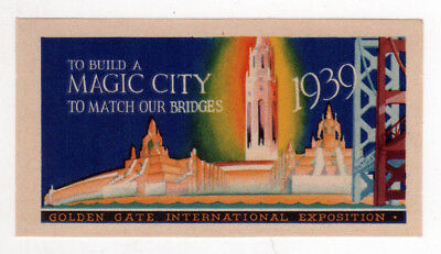1939 SAN FRANCISCO Golden Gate Exposition WORLD'S FAIR Decal LABEL Magic City CA