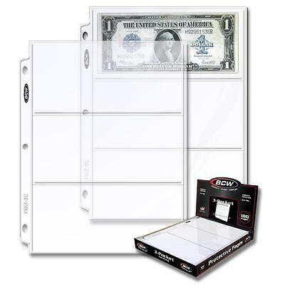 1 Box of 100 BCW 3 Pocket Pages Currency Dollar Bill Sheets Holders