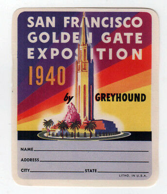 1940 SAN FRANCISCO Golden Gate Exposition EXPO Decal GREYHOUND BUS California