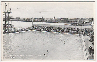 BANGOR COUNTY DOWN PC Postcard SWIMMING POOL Northern Ireland IRISH Belfast EIRE