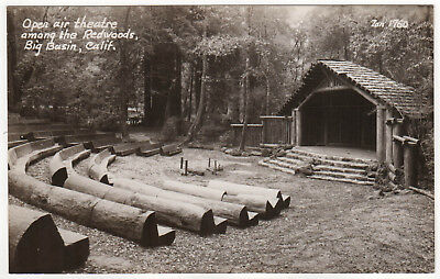 BIG BASIN Theater REDWOODS RPPC RP Real Photo Postcard REDWOOD State Park CALI