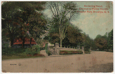 PROSPECT PARK Brooklyn New York City PC Postcard REVIEWING STAND Flower Garden