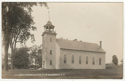 WEST CLAREMONT NEW HAMPSHIRE RPPC RP Real Photo Postcard NH Old Union Church
