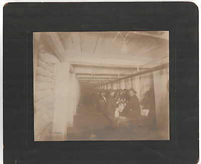 Rare Large 1900s BUTTE MONTANA Cabinet Photograph Photo MINERS Mining MINE Lunch