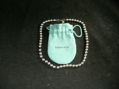 """Tiffany & CO. Necklace Bead Sterling silver large elegant heavy 114.grams 18"""""""