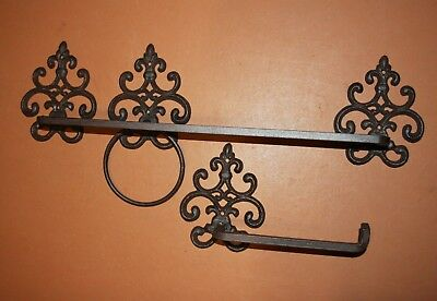 (3) Vintage Look French Victorian Bathroom Decor, Cast Iron Towel Bar Ring, TP