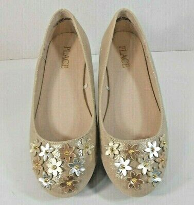 The Childrens PLACE Girls Slip On Ballet Flats Sz 1 Flower Toes Beige Shimmer