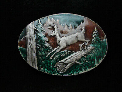 Oa07110 *Nos* Vintage 1980 **Deer Jumping Over Log** Pewter Indiana Metal Buckle