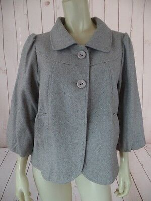 LUX Blazer Coat L Gray Heather Stretch Wool Blend Retro 50s Style Swing Lined