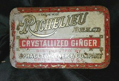 Old Advertising Tin Richelieu Crystallized Ginger Sprague Warner & Co Chicago IL