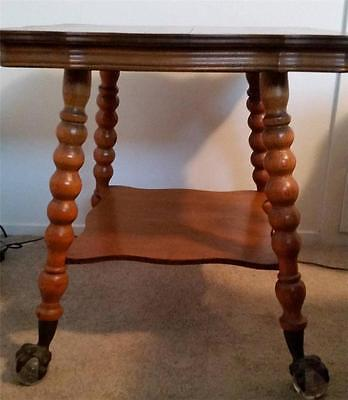 Antique 1890s Oak Parlor Table with Claw & Glass Ball Feet  Serpentine Shape Top