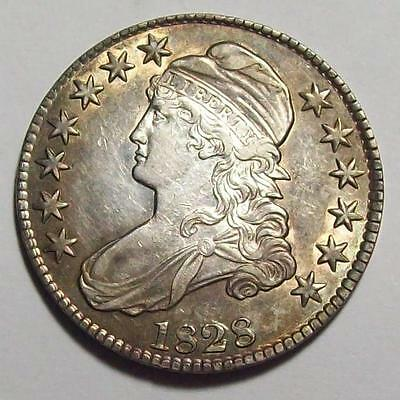1828 Square Base 2 CAPPED BUST HALF DOLLAR  Sharp AU+   **Free U.S. Ship #38 A35