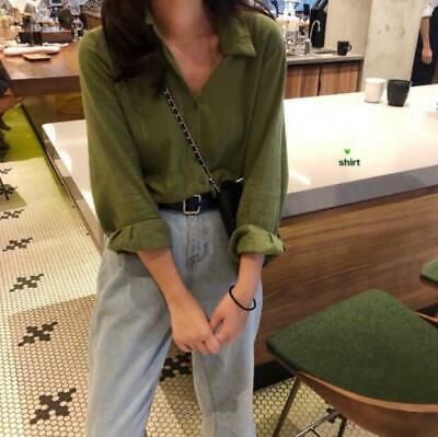 Womens Fashion Spring Long Sleeve Pure Color Loose Shirt Casual Thin Blouses Top