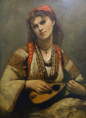 """perfect 24x36 oil painting handpainted on canvas""""a girl with a Mandolin """"@N10407"""