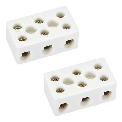 3 Way Ceramics Terminal Blocks High Temp Porcelain Connector 47x27.5x19.5mm 2Pcs