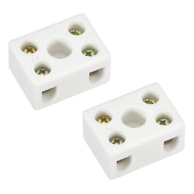 2 Way Ceramics Terminal Blocks High Temp Connectors 29.2x21.2x15.2mm 2 Pcs