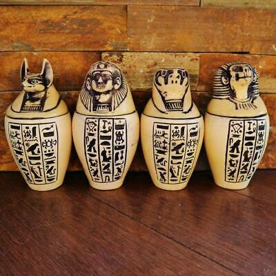 "Antique Set 4 Egyptian Ancient Canopic Jars Organs Funerary Statues LARGE (5"")"