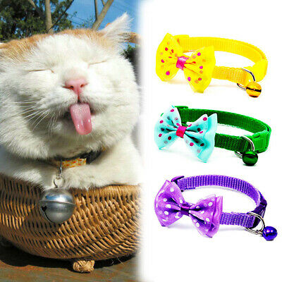 Pet Bowknot Necktie Collar Adjustable Dog Cute Bow Tie Bell Kitten Puppy Cat 1Pc