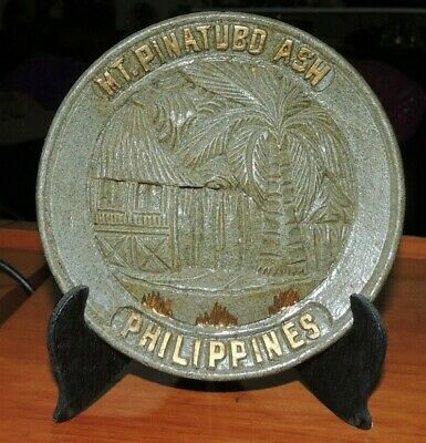 """""""RARE"""" 1991 Philippines Mt Pinatubo Volcanic eruption Ash Material Display Plate"""