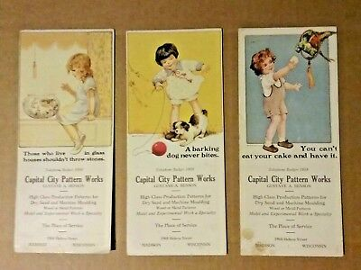 3 Vtg Blotters Capital City Pattern Works Madison Wisconsin WI Mary Anderson Art