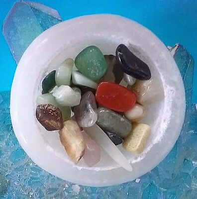 "Solid Selenite Crystal Carved Natural Gemstone 2"" Bowl W. Mixed Chakra Crystals"