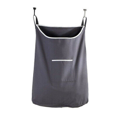 Over Door Hanging Laundry Hamper Bag Dirty Clothes Storage Basket With 2  Hooks