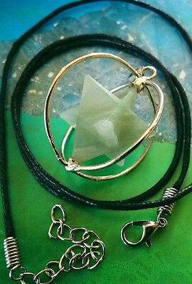 Green Aventurine Crystal Spinning Merkaba Star Pendant In Cage With Hemp Chain