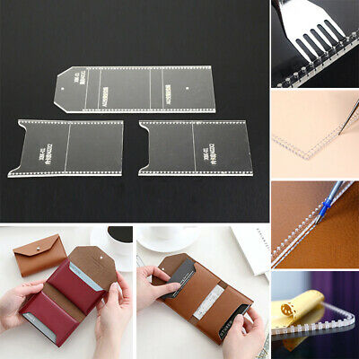 Acrylic Clear Pattern Template Kit Tools For Leather Card Holder Wallet Purse