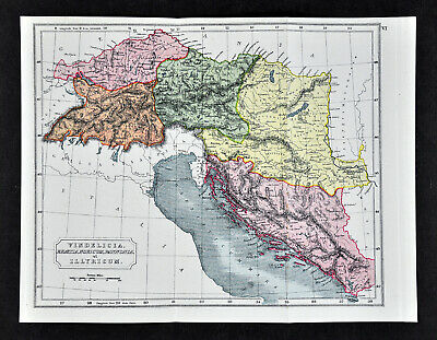 1908 Classical Map  Vindelicia Illyricum - Ancient Italy Croatia Slovenia Europe