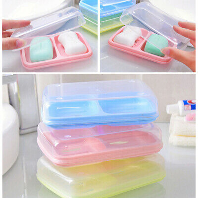 Soap Dishes Dispenser Case Plastic Soap Drain Container Box Bathroom Supplies BS