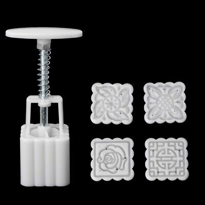 5Pcs Stamps 50g Square Flower Moon Mold Cake Mould Pastry Mooncake Hand DIY Tool