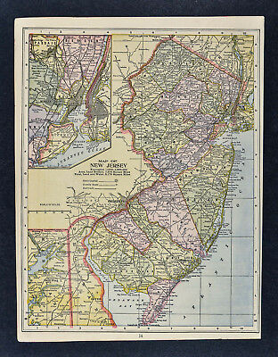 1895 Mathews Northrup Map New Jersey & New York City Trenton Princeton NJ NY NYC