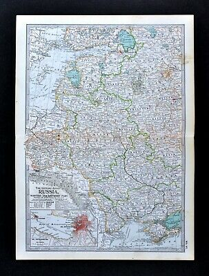 1902 Century Map Russia in Europe Poland Warsaw Crimea Moscow St. Petersburg