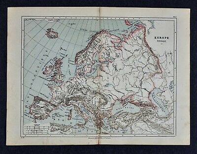 1885 Cortambert Map - Physical Europe - Alps Pyrenees Italy Spain France Germany