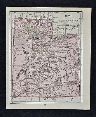 1917 McNally Map Utah Salt Lake City Provo Ogden Moab Logan Brigham Nephi Payson