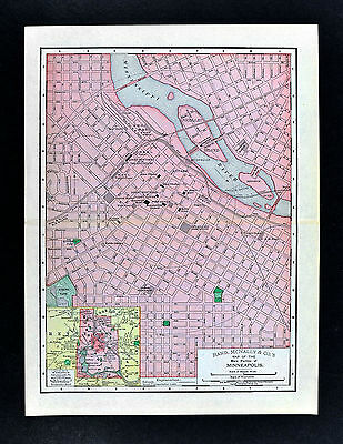 1895 McNally Map - Minneapolis Plan - Minnesota City Hall Great Norther Railroad