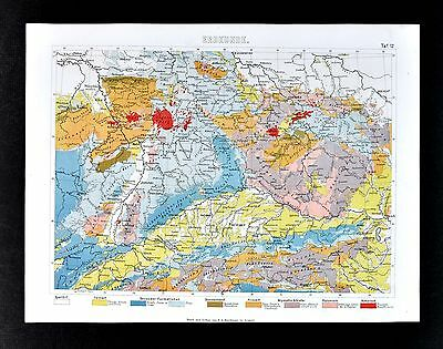 1874 Geological Map of Central Europe Germany Switzerland Austria Alps Geology