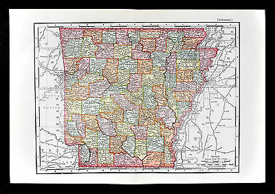 1895 Rand McNally Map - Arkansas - Little Rock Hot Springs Fayetteville Rogers