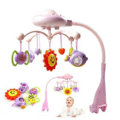 Baby Cute Musical Plastic Bed Mobile Stars Dream Light Flash Nusery Lullaby Toy