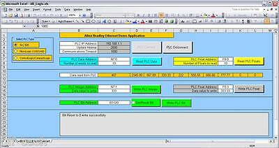 EXCEL ACTIVEX DRIVER with VBA Code for AllenBradley MicroLogix SLC500 5/05  PLCs