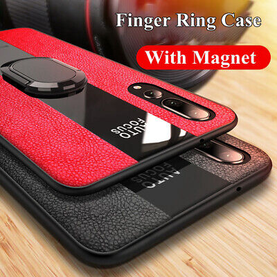 For Huawei Mate 20 P30 Pro Magnetic Ring Stand Rugged Glass Leather Case Cover