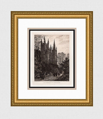 """1800s AXEL HAIG Antique Print """"Sunday,Saint Peter's Cathedral"""" Framed Signed COA"""