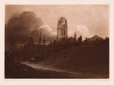 "John Sell Cotman 1800s Mezzotint ""St. Mary, Redcliffe & River Avon"" SIGNED COA"