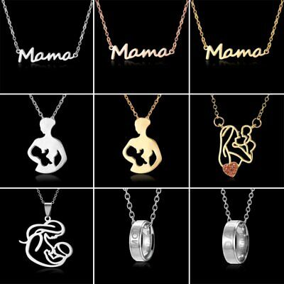 Stainless Steel Hollow Mama Pendant Chain Necklace Women Mother's Day Best Gift