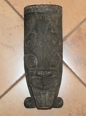 Vintage Wood Tribal Totem Face with Spiral Eyes 15 inches 5 pounds