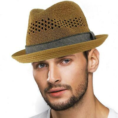 ef218960bc4 MEN S SUMMER COTTON Upturn Brim Retro Lining Pork Pie Fedora Hat ...