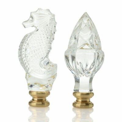 "Waterford Crystal 2-Piece (3"") Cross Cut Acorn & Seahorse Finial Set"