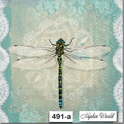 (491-a) TWO Individual Paper Luncheon Decoupage Napkins - DRAGONFLY, LACE, AQUA