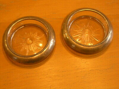 Two Antique Frank M Whiting Sterling Silver Rim & Glass Coasters